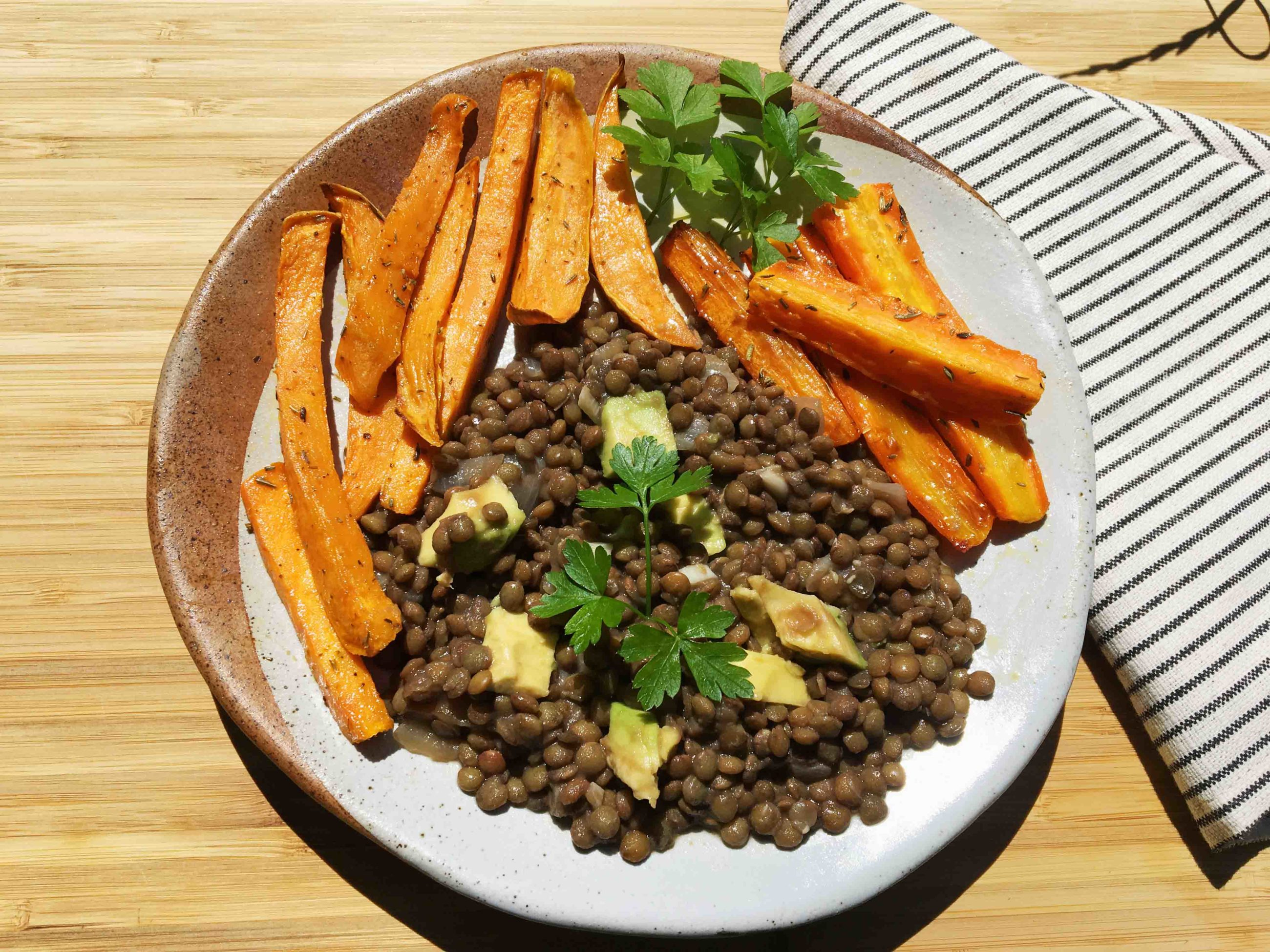 Lentil Salad with Sweet Potato Fries & Roasted Carrots